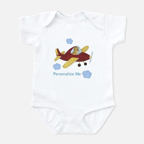 Personalized Airplane - Dinosaur Infant Bodysuit