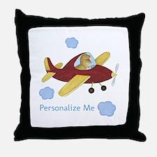 Personalized Airplane - Dinosaur Throw Pillow