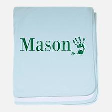Green Mason Name baby blanket