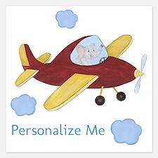 Personalized Airplane - Elephant 5.25 x 5.25 Flat