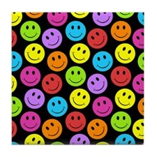 Happy Colorful Smiley Faces Pattern Tile Coaster
