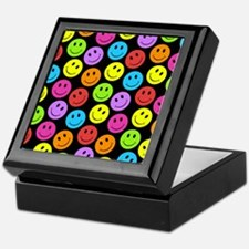 Happy Colorful Smiley Faces Pattern Keepsake Box
