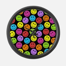 Happy Colorful Smiley Faces Pattern Large Wall Clo