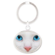 WHITE  CAT Oval Keychain