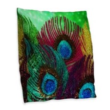 Colorful Peacock Burlap Throw Pillow
