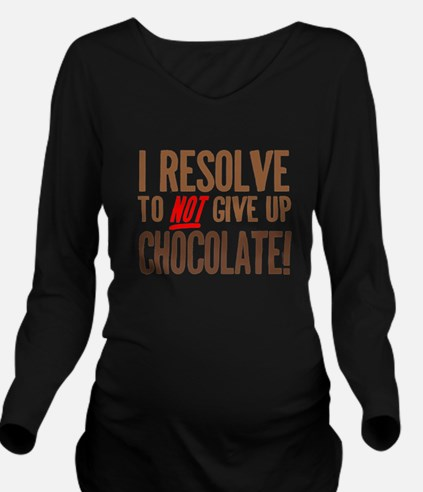 Chocolate Resolution Long Sleeve Maternity T-Shirt
