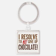Chocolate Resolution Square Keychain