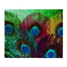 Colorful Peacock Throw Blanket