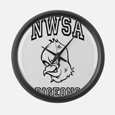 NWSA BW Pigeons Large Wall Clock