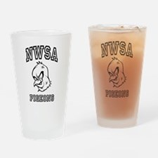 NWSA BW Pigeons Drinking Glass