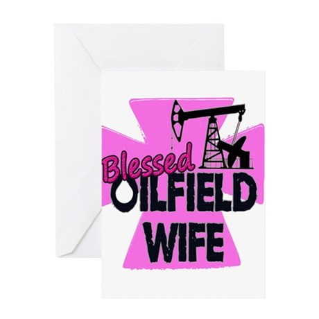 Pink Blessed Oilfield Wife With Cross Greeting Car
