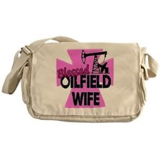 Pink Blessed Oilfield Wife With Cross Messenger Ba
