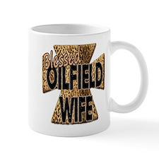 Leopard Print Blessed Oilfield Wife Cross Mugs