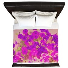 Pink and Purple Petunias King Duvet