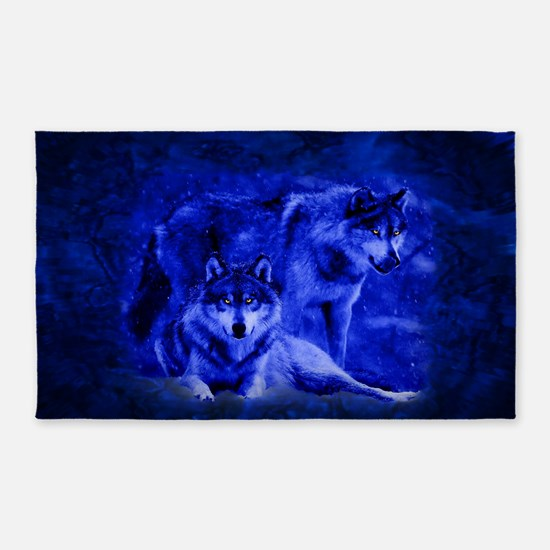 Winter Wolves 3'X5' Area Rug