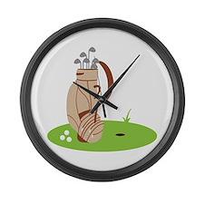 Golf Bag and Balls Large Wall Clock