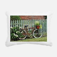 Vintage Floral Bicycle Rectangular Canvas Pillow