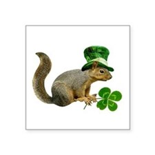 "Leprechaun Squirrel Square Sticker 3"" x 3"""