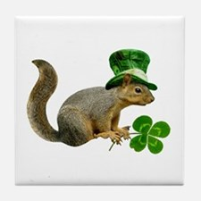 Leprechaun Squirrel Tile Coaster