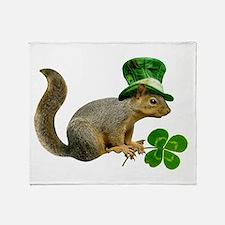 Leprechaun Squirrel Throw Blanket