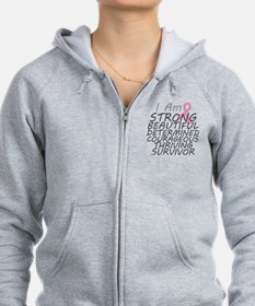 Breast Cancer Strong Survivor Zip Hoodie