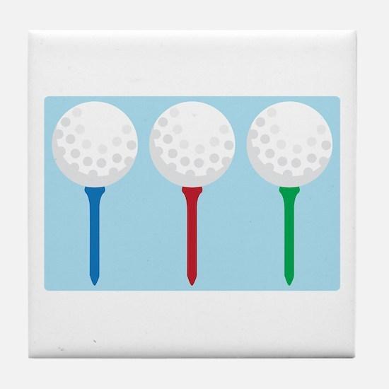 Golf Tees and Balls Tile Coaster
