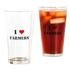 I Heart Farmers Drinking Glass