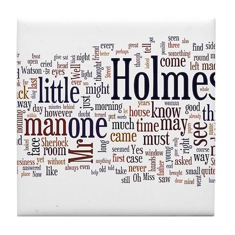 Sherlock Holmes Word Cloud Tile Coaster