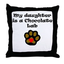 My Daughter Is A Chocolate Lab Throw Pillow