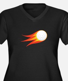 Flaming Golf Ball Plus Size T-Shirt