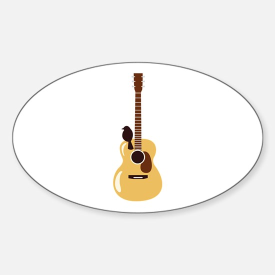 Acoustic Guitar and Bird Decal