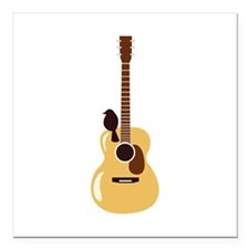 """Acoustic Guitar and Bird Square Car Magnet 3"""" x 3"""""""