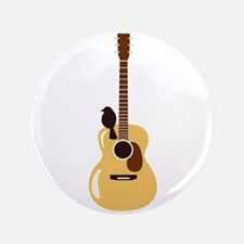 """Acoustic Guitar and Bird 3.5"""" Button"""