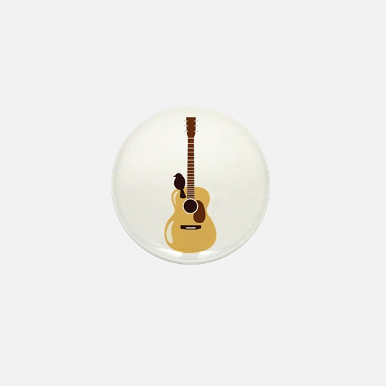 Acoustic Guitar and Bird Mini Button