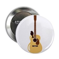 "Acoustic Guitar and Bird 2.25"" Button"