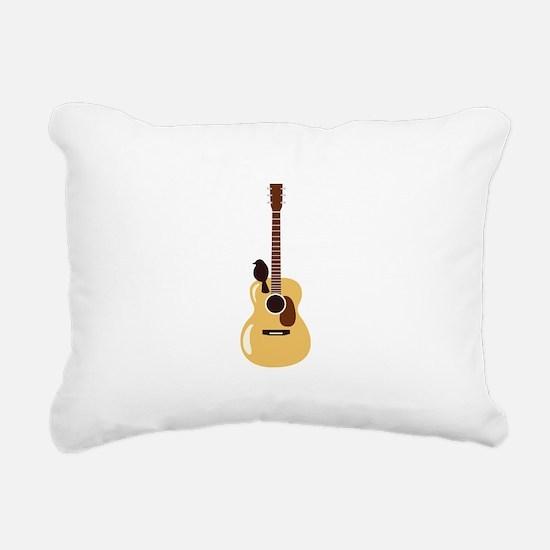 Acoustic Guitar and Bird Rectangular Canvas Pillow