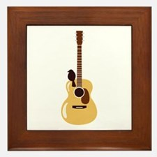 Acoustic Guitar and Bird Framed Tile