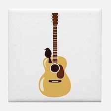 Acoustic Guitar and Bird Tile Coaster