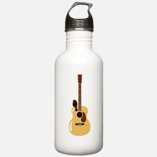 Acoustic Guitar and Bird Water Bottle