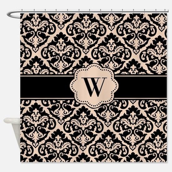 black and tan shower curtain. Black Tan Damask Monogram Shower Curtain Curtains  CafePress