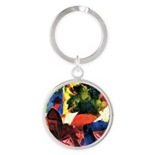 August Macke - At the Garden Table Round Keychain