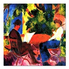 "August Macke - At the Ga Square Car Magnet 3"" x 3"""