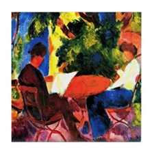 August Macke - At the Garden Table Tile Coaster