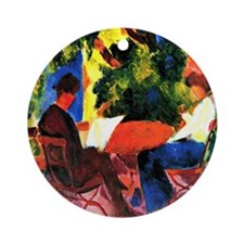 August Macke - At the Garden Table Round Ornament