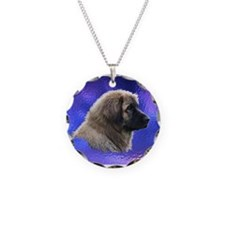 Leonberger Dog Blue Necklace