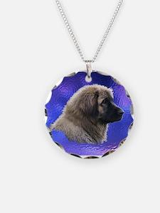 Leonberger Dog Blue Necklace
