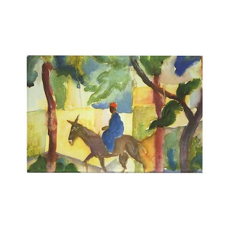 August Macke - Donkey Rider Rectangle Magnet