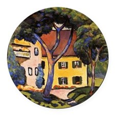 August Macke - House in a Landsca Round Car Magnet