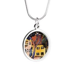 August Macke - House in a La Silver Round Necklace