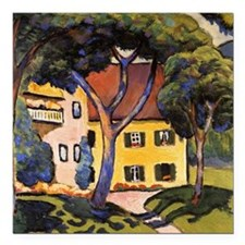 "August Macke - House in  Square Car Magnet 3"" x 3"""